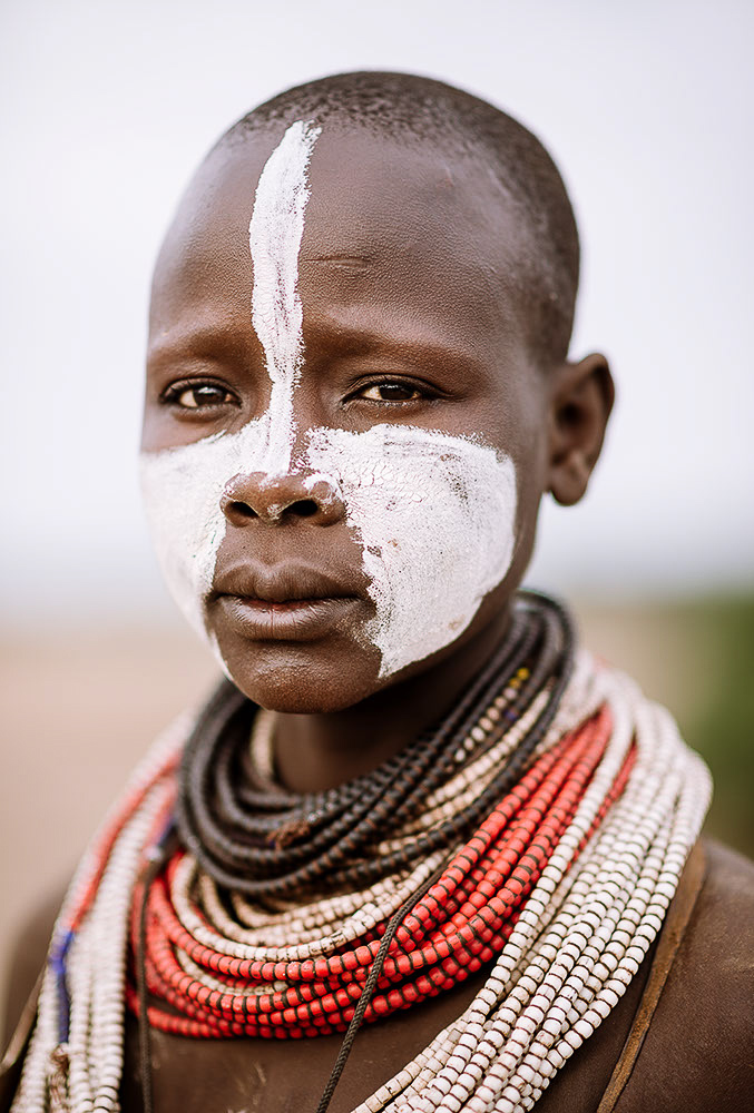 Portrait of Gado, Kara Tribe, Duse Village, Omo Valley, Ethiopia