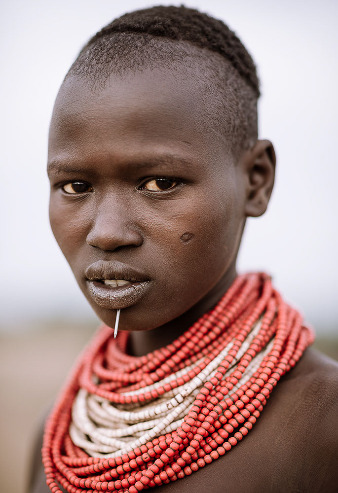Portrait of Aika, Kara Tribe, Duse Village, Omo Valley, Ethiopia