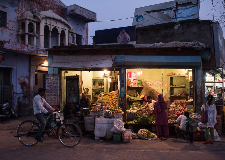 Street Greengrocers at night, Agra, Uttar Pradesh, India