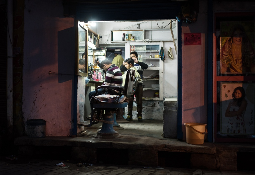 Barbershop at night, Agra, Uttar Pradesh, India