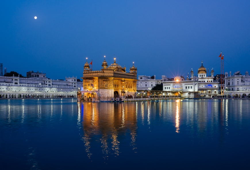 Harmandir Sahib (Golden Temple) at night, Amritsar, Punjab, India