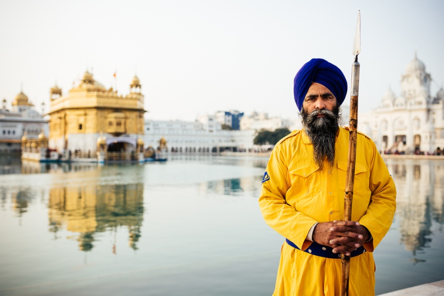Portrait of guard, Harmandir Sahib (Golden Temple), Amritsar, Punjab, India