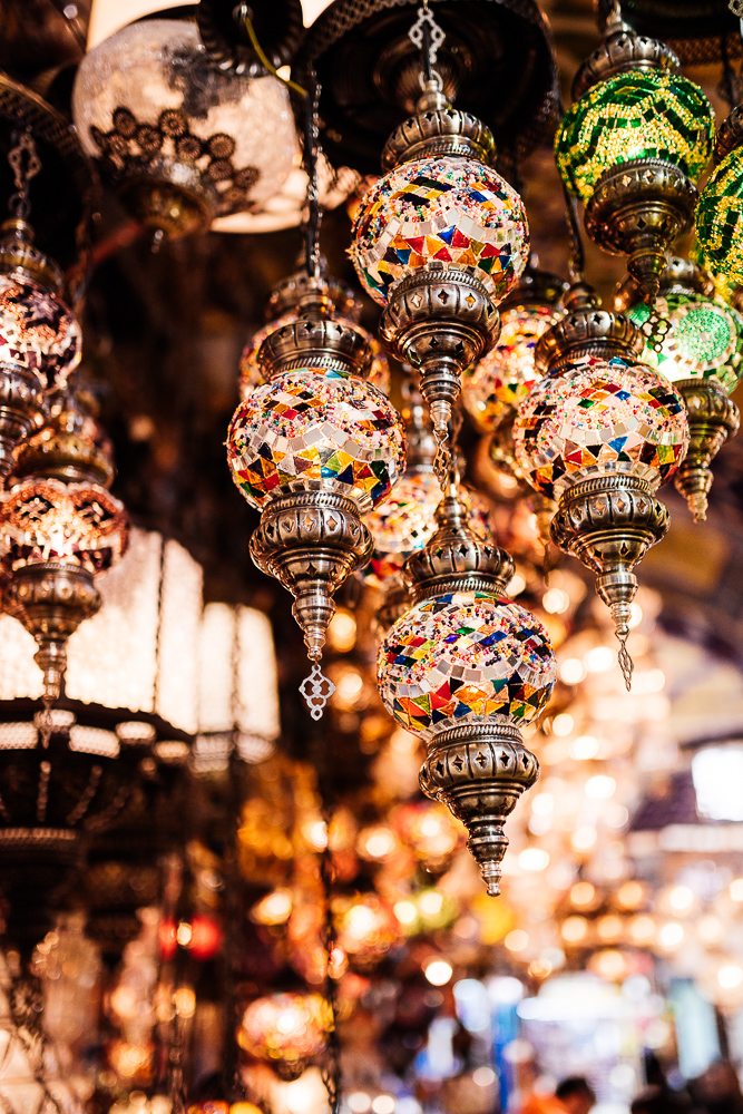 Mosaic glass Turkish lights on display, Grand Bazaar, Istanbul, Turkey