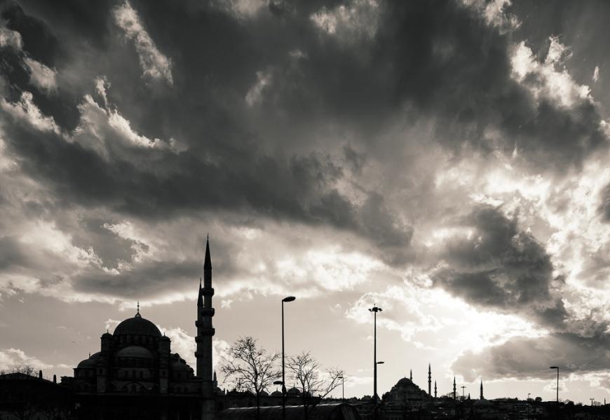 Silhouette of Istanbul skyline, Istanbul, Turkey