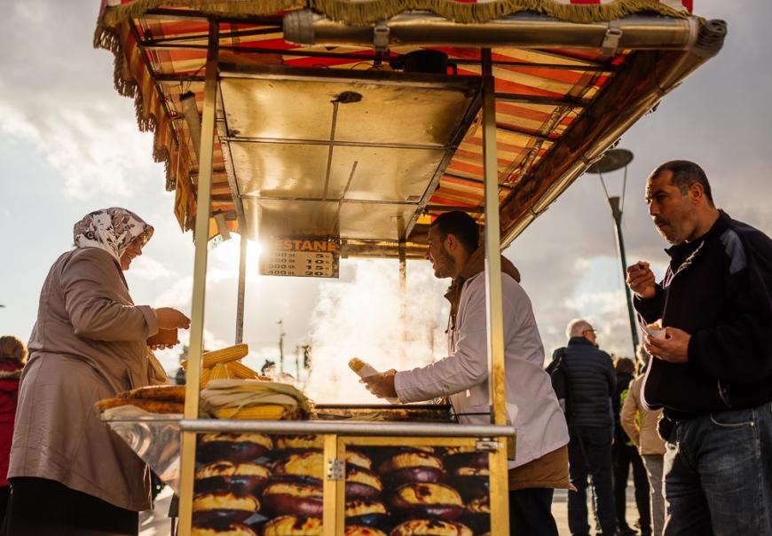 Food Stall selling corn, Istanbul, Turkey