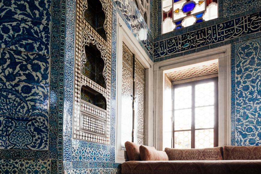 Interior of Baghdad Kiosk, Topkapi Palace, Sultanahmet, Istanbul, Turkey