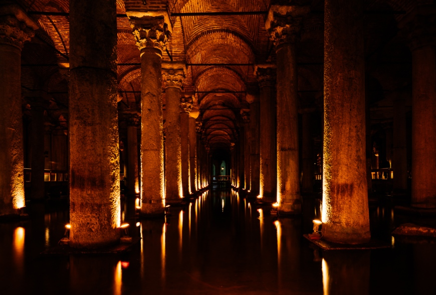 Interior of Basilica Cistern, Sultanahmet, Istanbul, Turkey