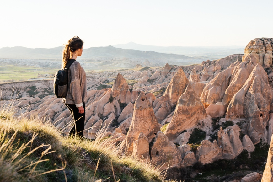 Young woman hiking in Red Valley, Cappadocia, Anatolia Region, Turkey