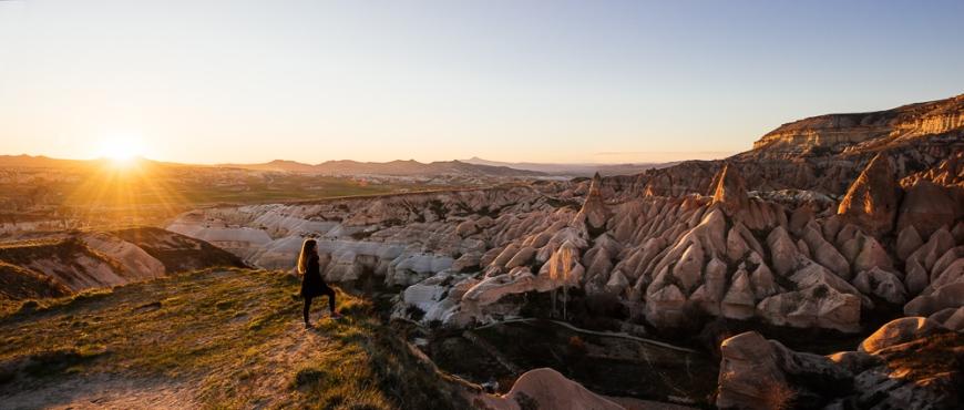 Red Valley at sunset, Cappadocia, Anatolia Region, Turkey