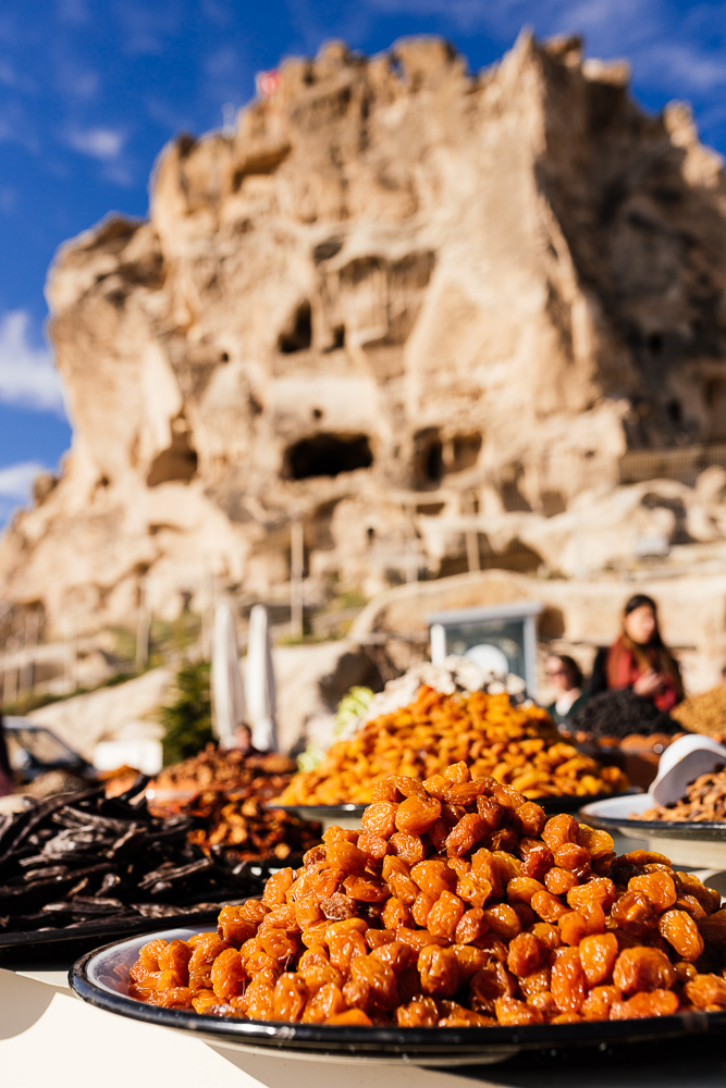 Dried fruit stall, Uçhisar, Cappadocia, Anatolia Region, Turkey