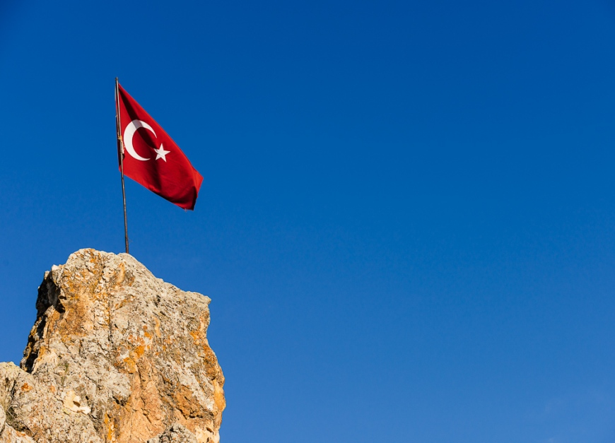 Flag of Turkey, Cappadocia, Anatolia Region, Turkey