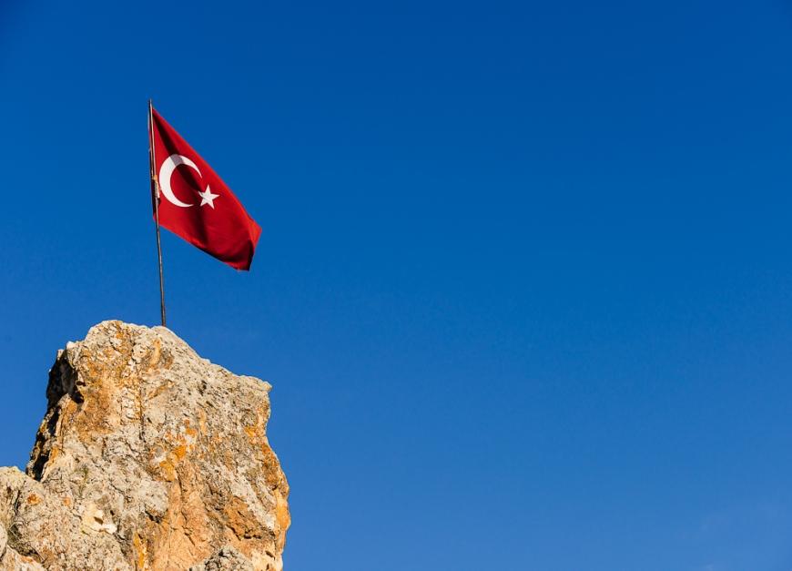 Flag of Turkey, Cappadocia, Anatolia Region, Turkey