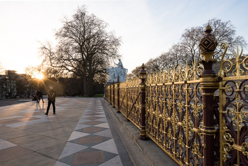 Exterior of Royal Albert Hall from The Albert Memorial, London, England, UK