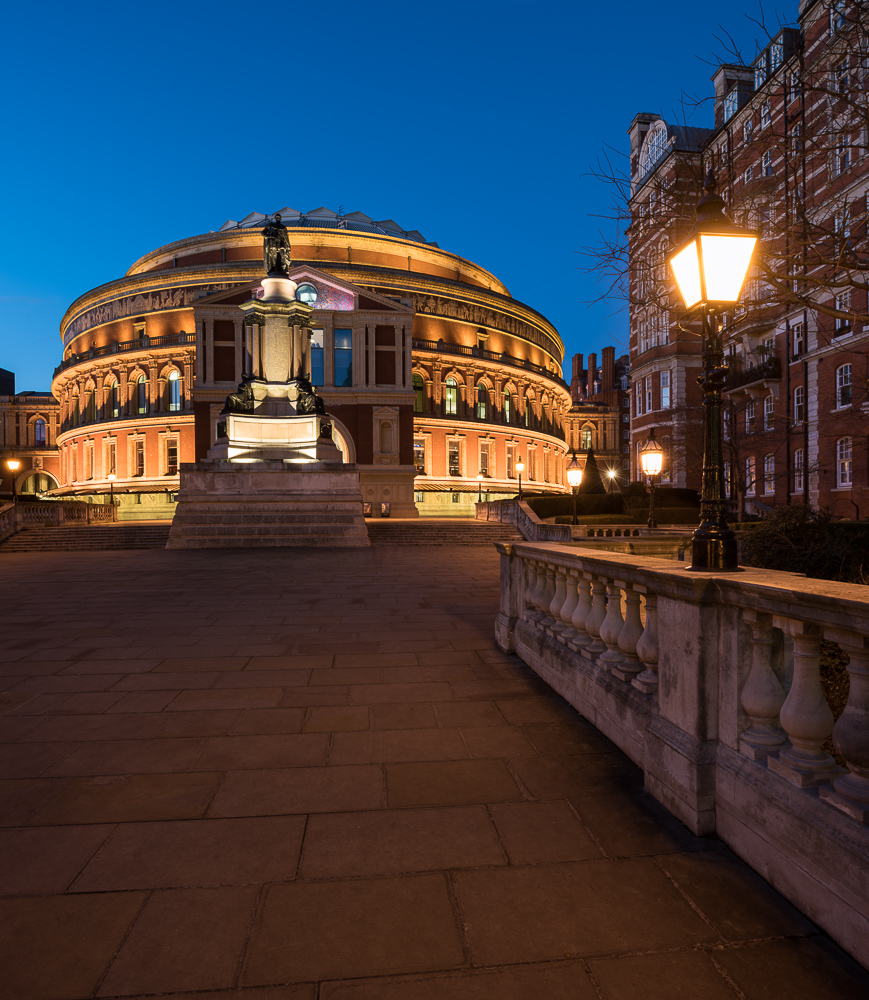 Exterior of Royal Albert Hall at night, London, England, UK