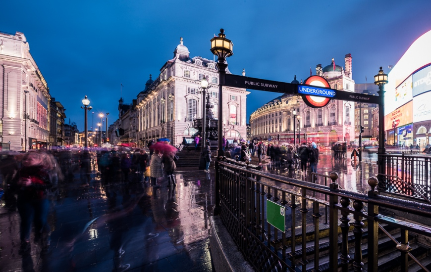 Piccadily Circus at night, London, England, UK