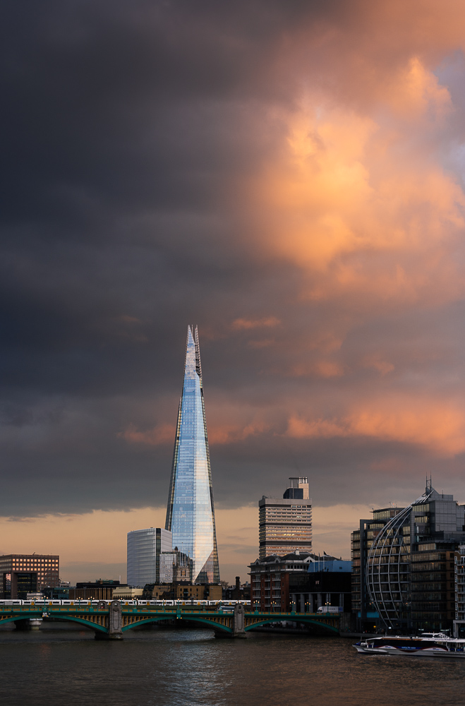 View of The Shard at dusk from London Bridge, London, England