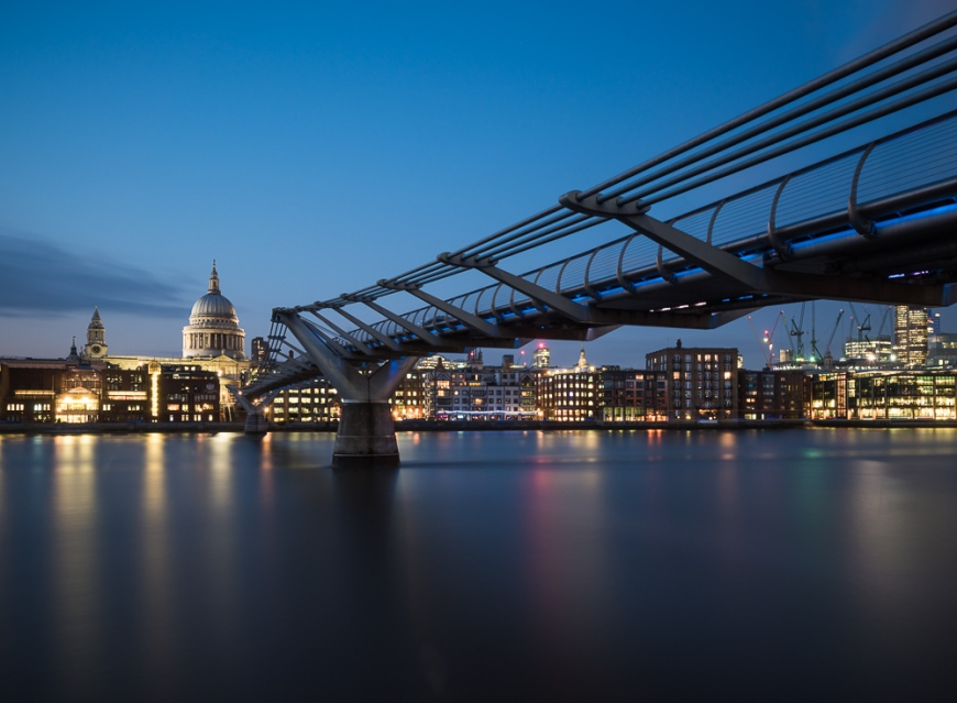 View of St Paul's Cathedral and Millennium Bridge at night, London, England