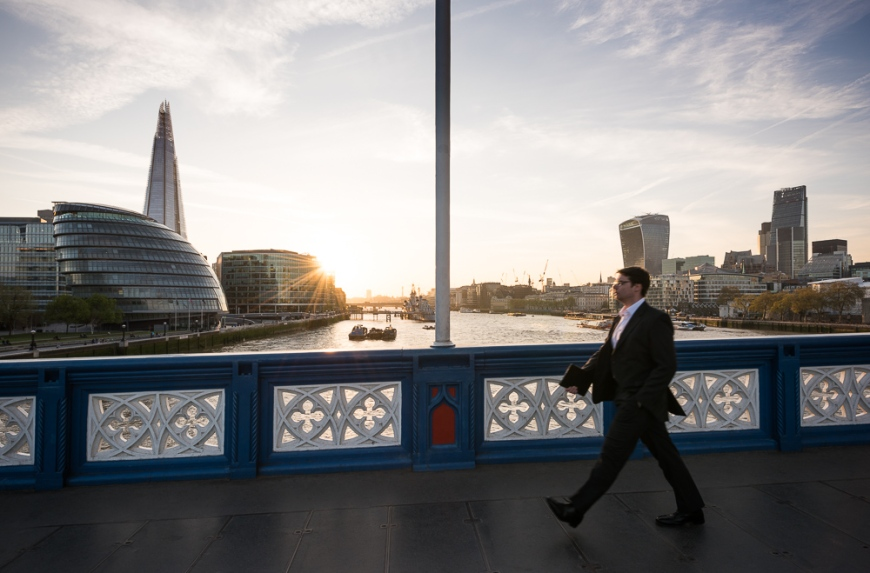 View of The Shard & City Hall from Tower Bridge, London, England