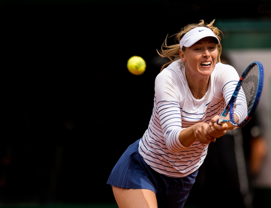 Maria Sharapova of Russia in action during her Women's Singles match against Lucie Safarova of Czech Republic on day nine of the 2015 French Open at Roland Garros on June 1, 2015 in Paris, France.