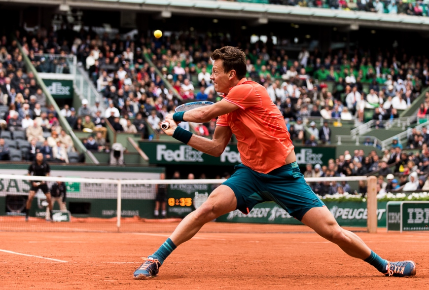 Action from 4th round match between Tomas Berdych and Jo-Wilfried Tsonga