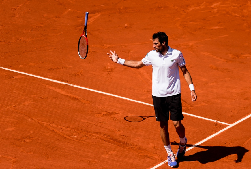 Jeremy Chardy of France in action against Andy Murray of Great Britain during their Men's singles match on day nine of the 2015 French Open at Roland Garros on June 1, 2015 in Paris, France.