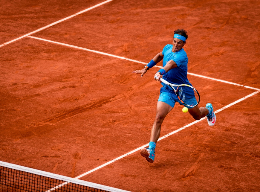 01.06.2015. Roland Garros, Paris, France. Rafael Nadal of Spain in action during his Men's Singles match against Jack Sock of USA on day nine of the 2015 French Open 2015 in Paris, France. Nadal won the match 6-3, 6-1, 5-7, 6-2 to move into the quarter finals