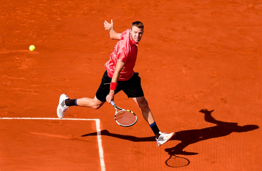 01.06.2015. Roland Garros, Paris, France. Jack Sock of USA in action during his Men's Singles match against  Rafael Nadal of Spain on day nine of the 2015 French Open 2015 in Paris, France. Nadal won the match 6-3, 6-1, 5-7, 6-2 to move into the quarter finals