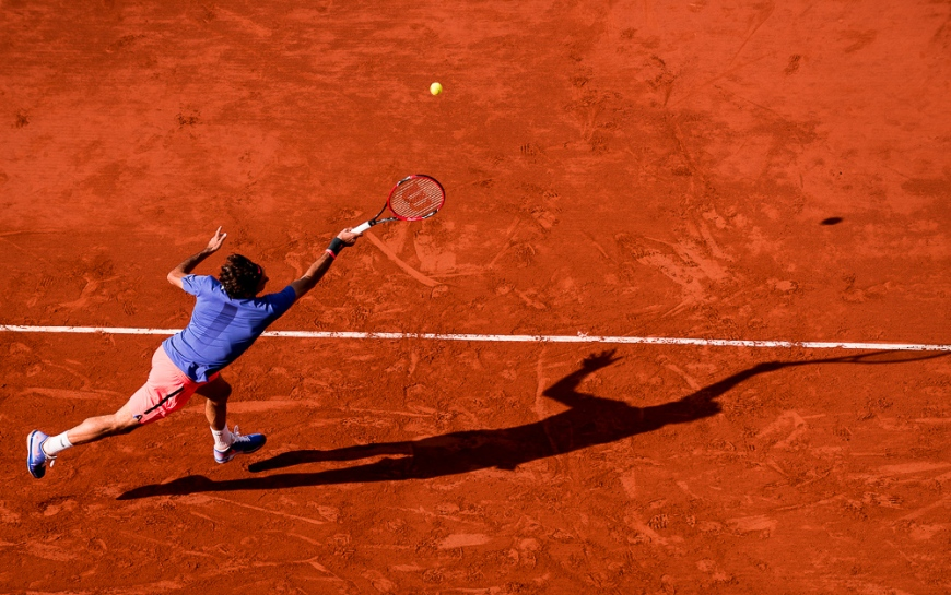 02.06.2015. Roland Garros, Paris, France.  Roger Federer of Switzerland in action against Stan Wawrinka of Switzerland during their Men's Singles match on day ten of the 2015 French Open 2015 in Paris, France. Wawrinka won the match 6-4 6-3 7-6 to move into the semi finals