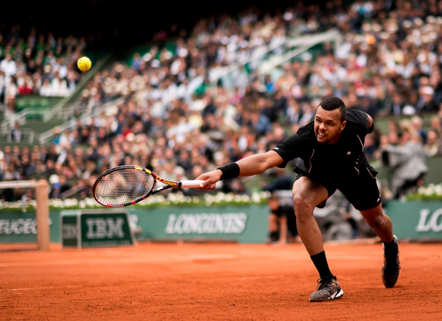 Action from 4th round match between Tomas Berdych and Jo-Wilfried Tsonga at 2015 French Open, Roland Garros, Paris, France
