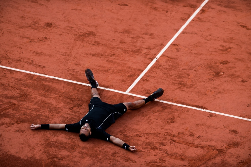 02.06.2015. Roland Garros, Paris, France. Jo-Wilfried Tsonga of France in action during his Men's Singles match against Kei Nishikori of Japan on day ten of the 2015 French Open 2015 in Paris, France. Tsonga won the match 6-1 6-4 4-6 3-6 6-3 to move into the semi finals