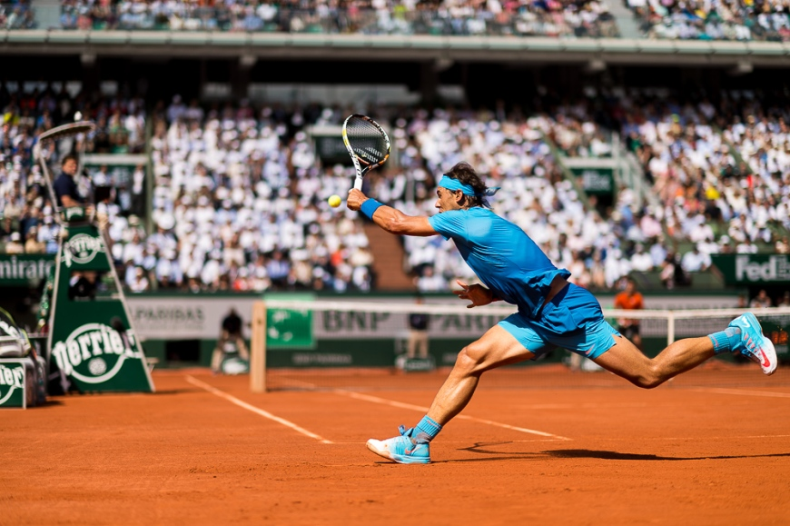 03.06.2015. Paris, France. Roland Garros French Open. Rafael Nadal of Spain in action during his Men's Singles match against Novak Djokovic of Serbia on day eleven of the 2015 French Open 2015 in Paris, France. Djokovic won the match 7-5 6-3 6-1 to move into the semi finals