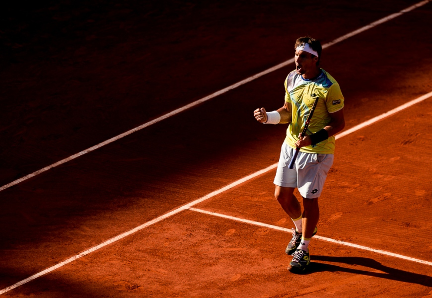 03.06.2015. Paris, France. Roland Garros French Open. Novak Djokovic of Serbia celebrates winning his Men's Singles match against Rafael Nadal of Spain on day eleven of the 2015 French Open 2015 in Paris, France. Djokovic won the match 7-5 6-3 6-1 to move into the semi finals
