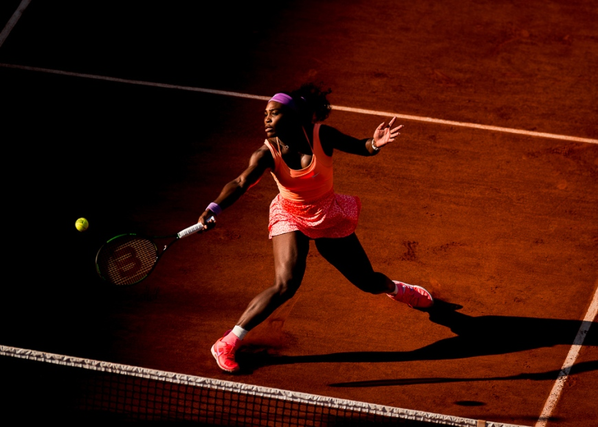 04.06.2015. Paris, France. Roland Garros French Open. Serena Williams of USA in action during her Women's Singles match against Timea Bacsinszky of Switzerland on day twelve of the 2015 French Open 2015 in Paris, France. Williams won the match 4-6 6-3 6-0 to move into the final.