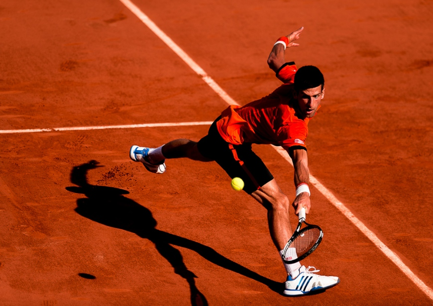 05.06.2015. Paris, France. Roland Garros French Open. Novak Djokovic of Serbia in action during his Men's Singles match against Andy Murray of Great Britain on day thirteen of the 2015 French Open 2015 in Paris, France. Play was suspended in the 4th set with the score at 3-3 and Djokovic winning 2 sets to 1.