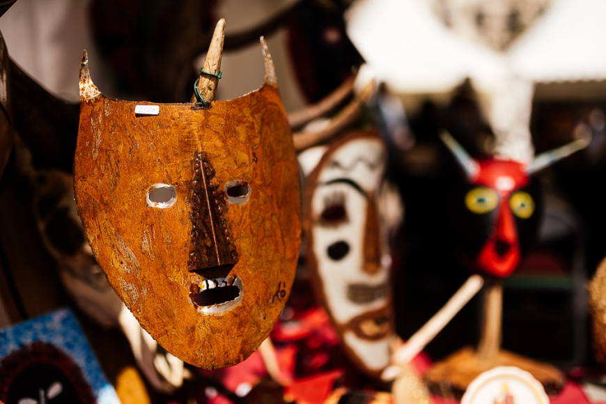 Traditional mask stall in Praca do Rossio, Lisbon, Portugal