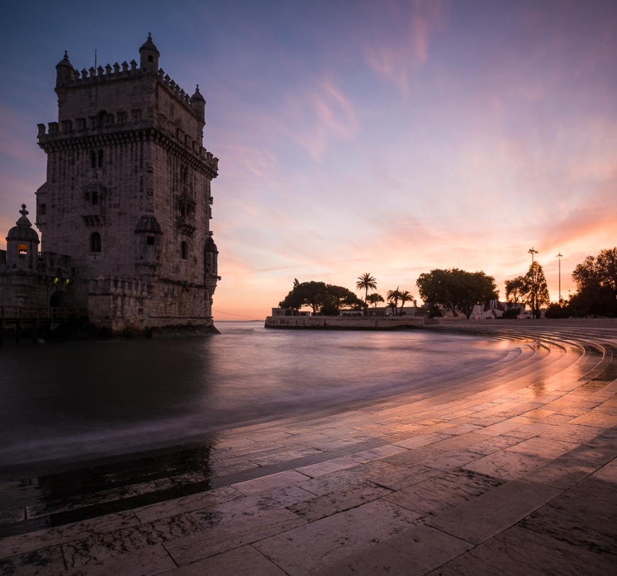 Belem Tower at dusk (Torre de Belem), Lisbon, Portugal