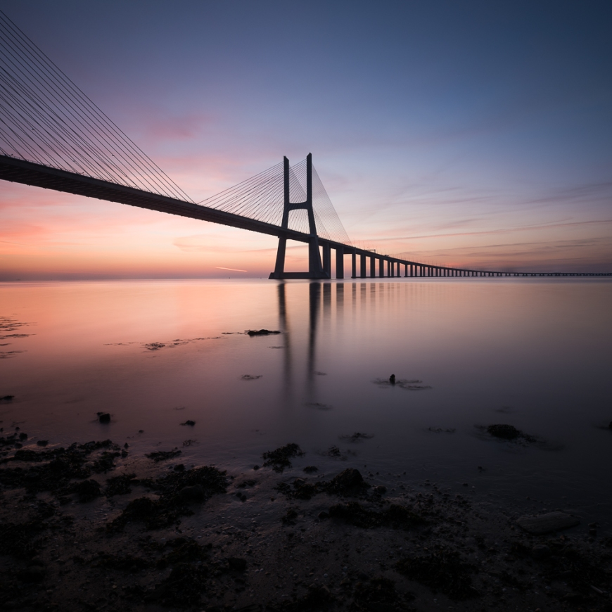Vasco da Gama Bridge at dawn, Lisbon, Portugal