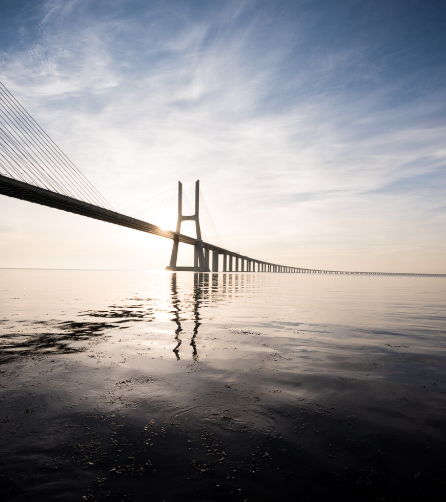 Vasco da Gama Bridge at dawn, Lisbon, Portugal