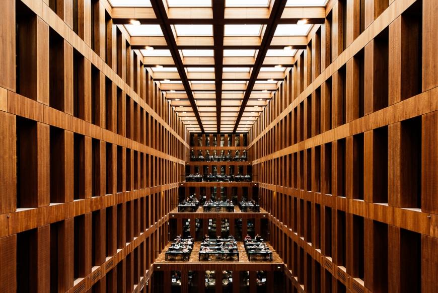 Interior of Jacob-und-Wilhelm-Grimm-Zentrum, Humboldt University, Berlin, Germany, Europe