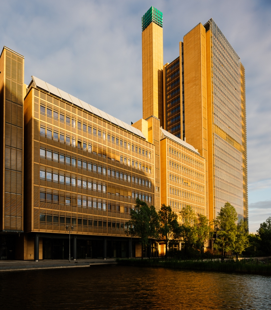 Exterior of Daimler complex at sunset, Potsdamer Platz, Berlin, Germany, Europe
