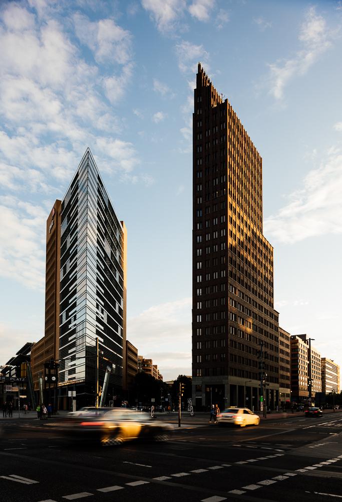 Exterior of Debis Tower and Kollhoff Tower at sunset, Potsdamer Platz, Berlin, Germany, Europe