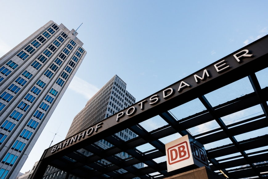 Exterior of Bahnhof Potsdamer, Potsdamer Platz at sunset, Berlin, Germany, Europe