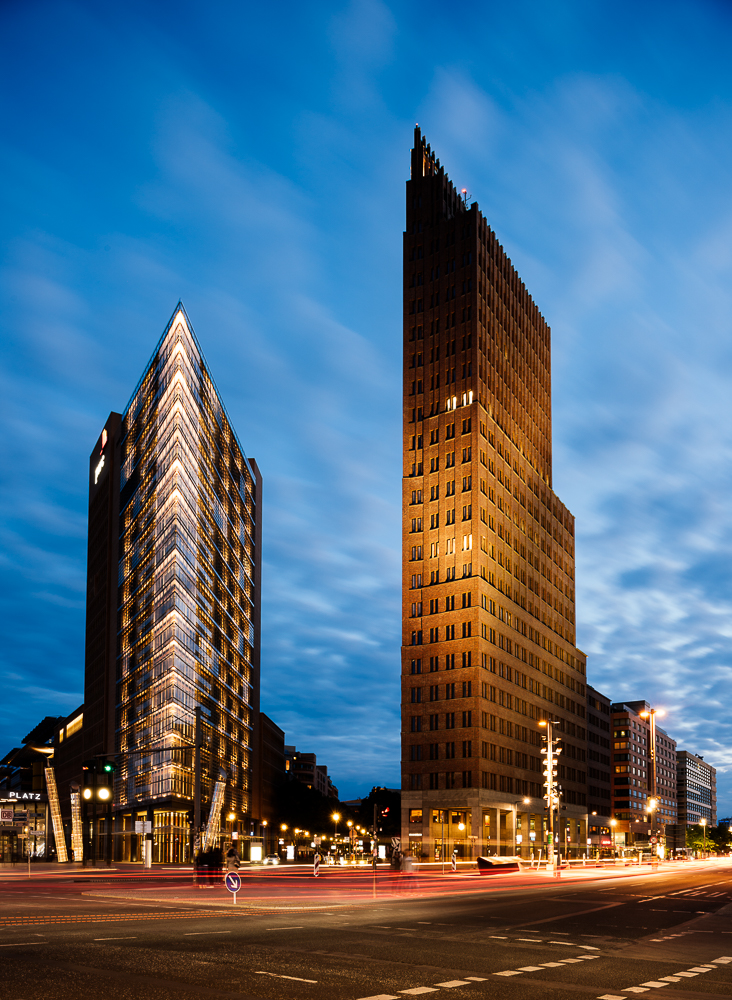 Exterior of Debis Tower and Kollhoff Tower at night, Potsdamer Platz, Berlin, Germany, Europe