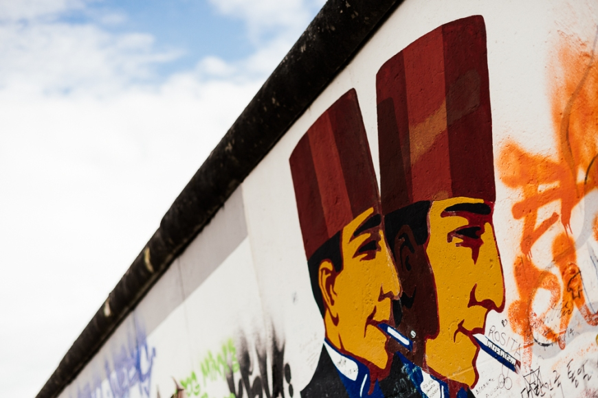 Detail of Mural, East Side Gallery (Former Berlin Wall), Muhlenstrasse, Friedrichshain District, Berlin, Germany, Europe