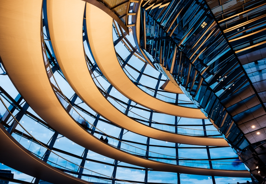 Wideangle interior view of The Dome of the Reichstag building at night (Designed by Sir Norman Foster), Berlin, Germany, Europe