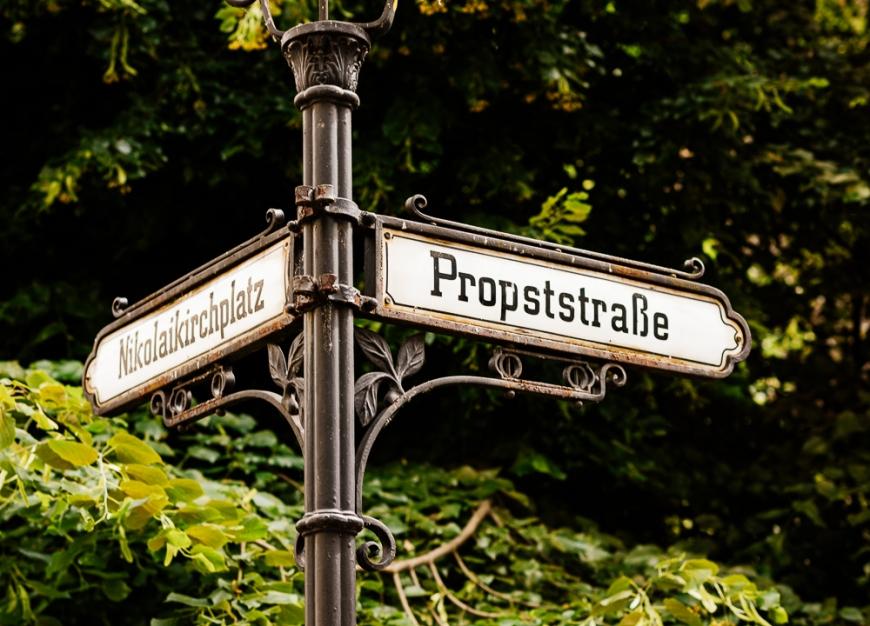 Signage, Nikolaiviertel, Berlin, Germany, Europe
