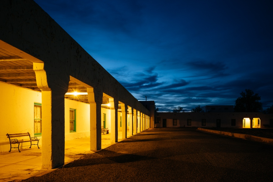 Exterior of Amargosa Opera House and Hotel at night, Death Valley Junction, California, USA