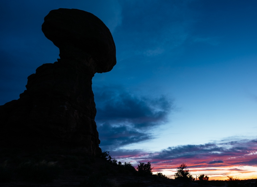 Balanced Rock at dusk, Arches National Park, Utah, USA