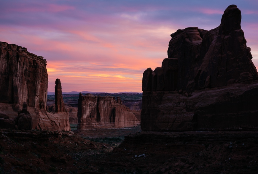Park Avenue at dawn, Arches National Park, Utah, USA