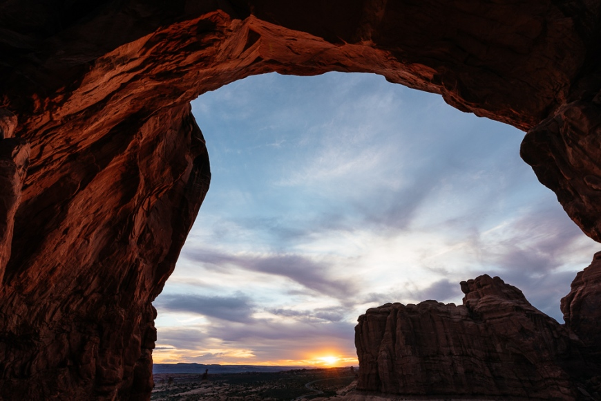 Double arch at sunset, Arches National Park, Utah, USA